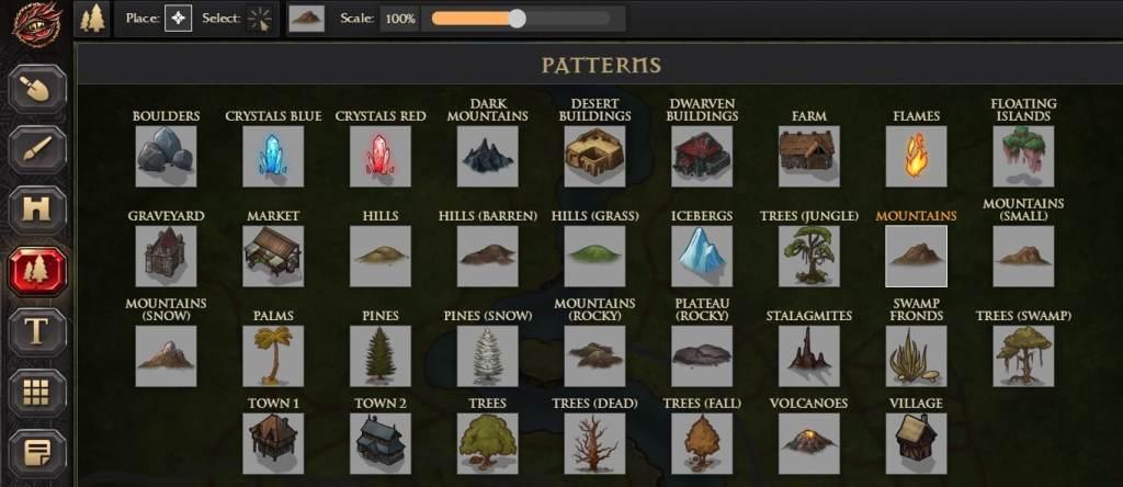 I numerosi Pattern Tool della versione Pro di Inkarnate! Potrete costruire villaggi anche molto diversi!
