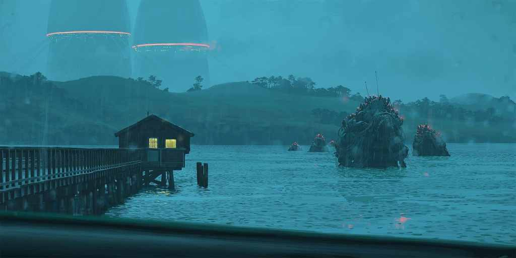 Una delle illustrazioni di Simon Stalenhag presente in The Loop Saga