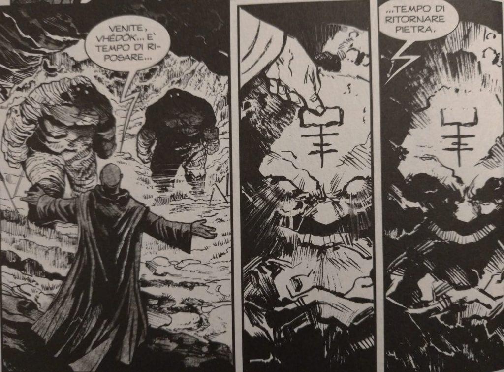 Il capo degli Eleusi mette a riposo i Vhédök, i Guardiani di Pietra