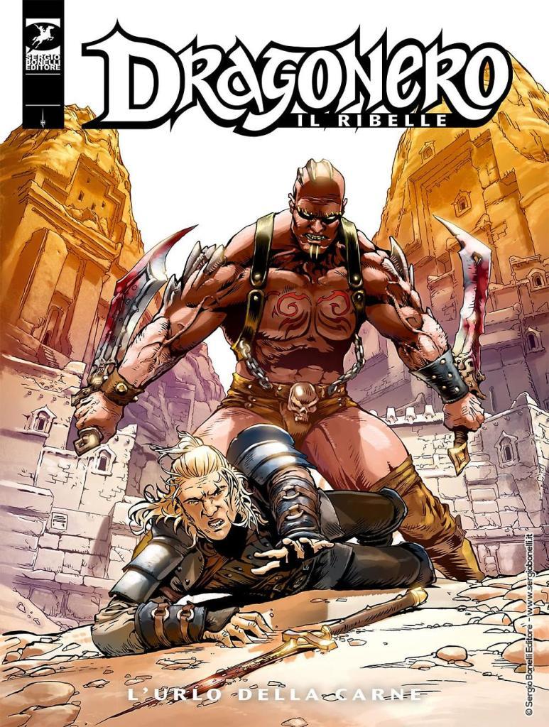Dragonero prono sotto i colpi di Kilvar nella copertina de L'urlo della carne