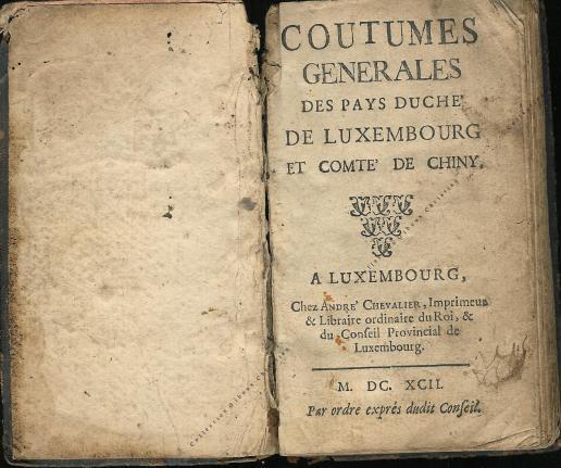 Coutumes Générales des Pays Duché de Luxembourg pages 0 - 1