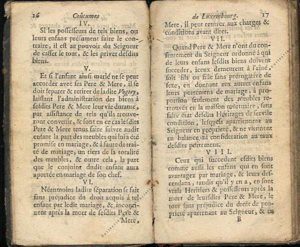 Coutumes Générales des Pays Duché de Luxembourg pages 16 - 17