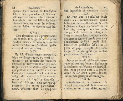 Coutumes Générales des Pays Duché de Luxembourg pages 22 - 23