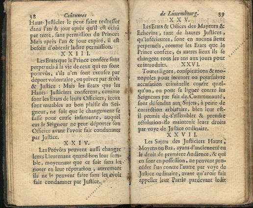 Coutumes Générales des Pays Duché de Luxembourg pages 38 - 39