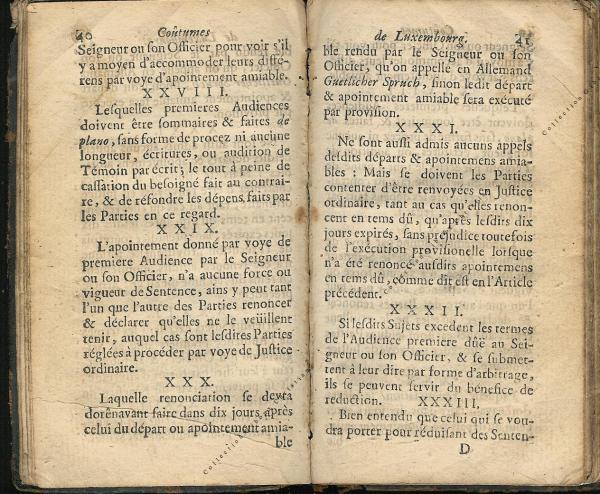 Coutumes Générales des Pays Duché de Luxembourg pages 40 - 41