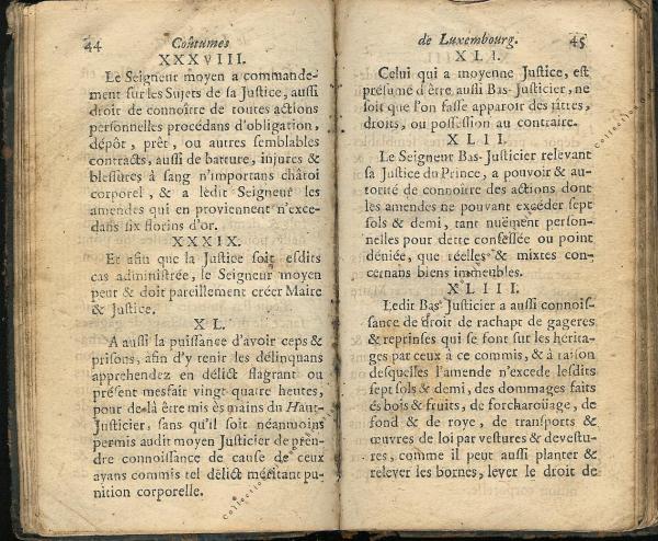 Coutumes Générales des Pays Duché de Luxembourg pages 44 - 45