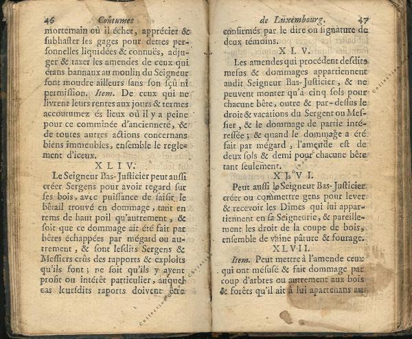 Coutumes Générales des Pays Duché de Luxembourg pages 46 - 47