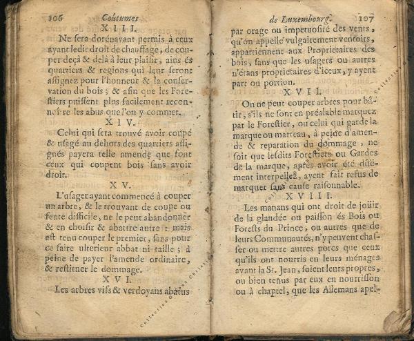 Coutumes Générales des Pays Duché de Luxembourg pages 106 - 107