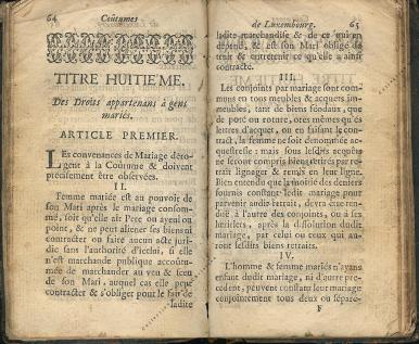 Coutumes Générales des Pays Duché de Luxembourg pages 64 - 65