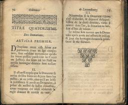 Coutumes Générales des Pays Duché de Luxembourg pages 94 - 95