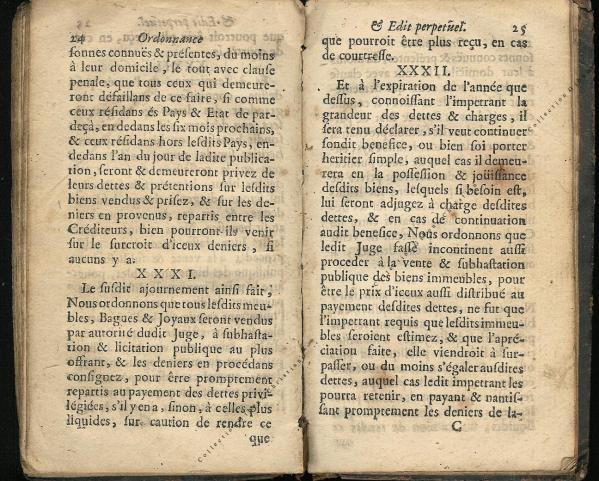 Ordonnance et Edit perpétuel des Archiducs pages 24 - 25