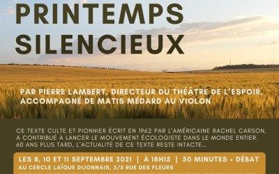 """Festival des Solutions écologiques : Les Lectures """"Printemps Silencieux"""""""