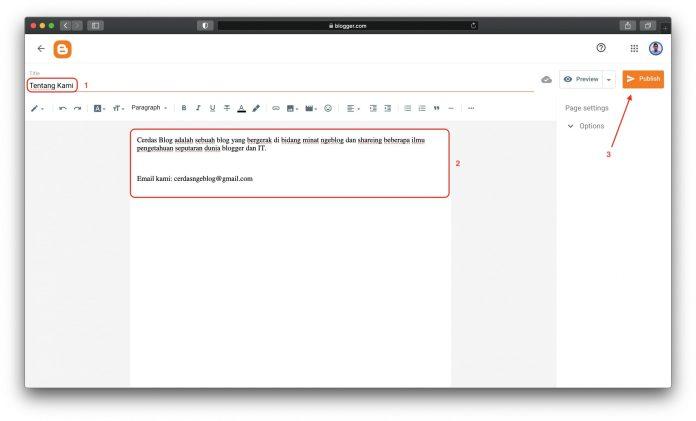 Tutorial Blogger Cara Membuat Halaman Statis di Blog, cara membuat halaman home di blogspot, contoh halaman blogger, cara membuat halaman posting pada blog, cara membuat halaman depan blog,