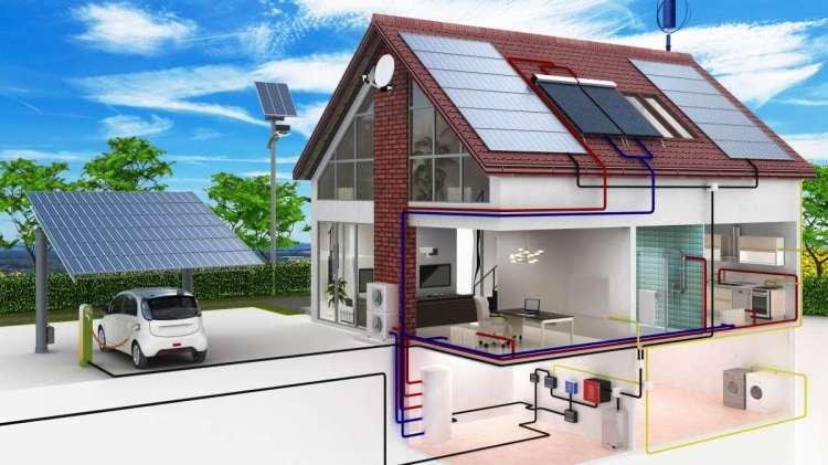 Schéma d'une maison à énergie positive avec les équipements