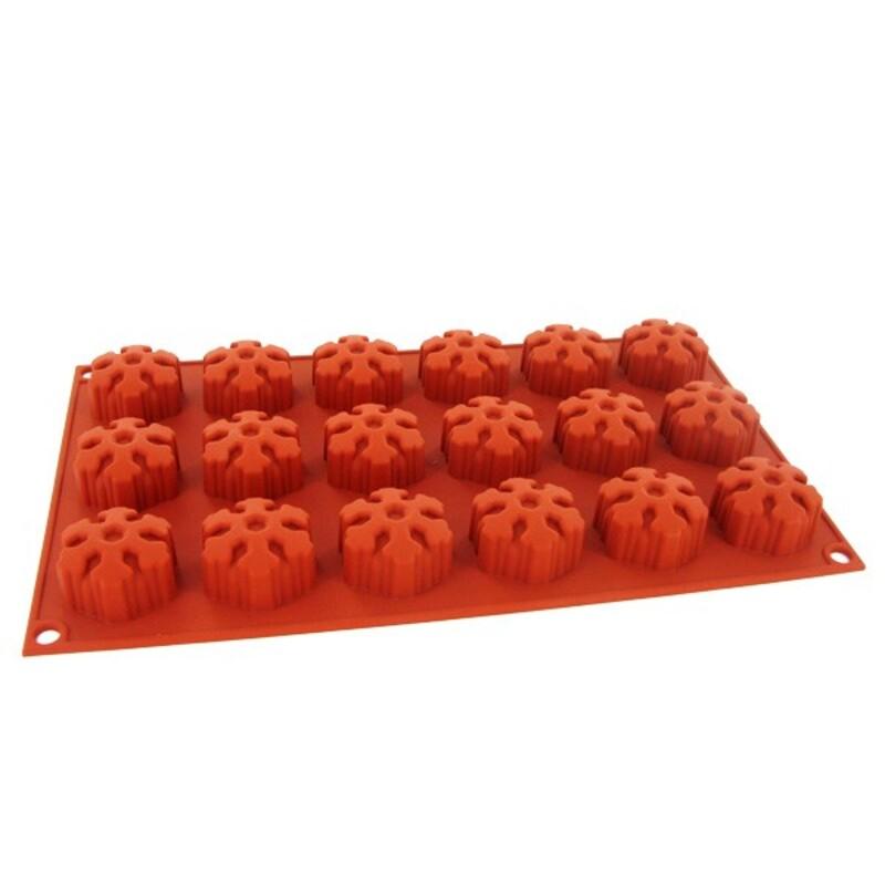 moule silicone souple 18 mini muffins flocons de neige 4 cm silikomart cerf dellier