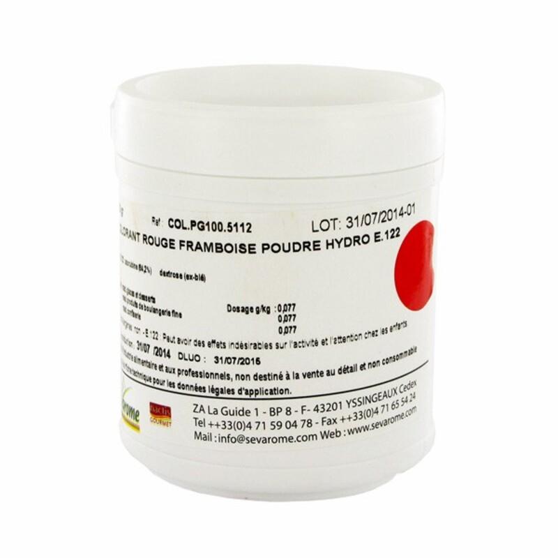colorant alimentaire en poudre rouge framboise sevarome 100 g cerf dellier