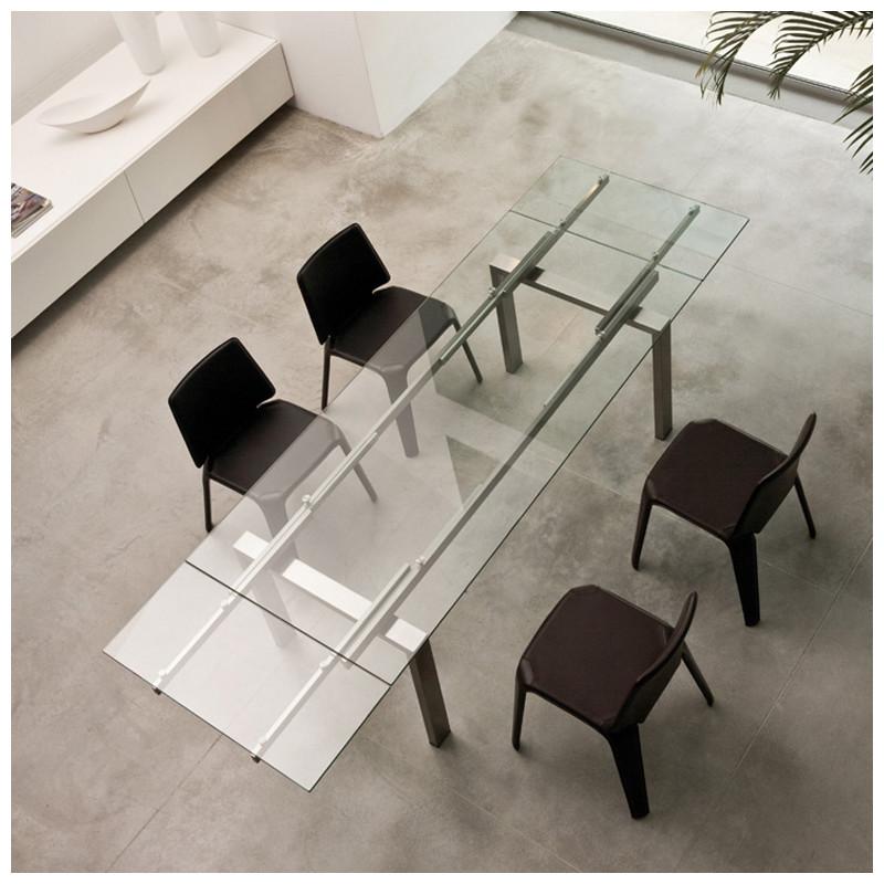 magic table a rallonges pedrali verre transparent inox 200x90cm