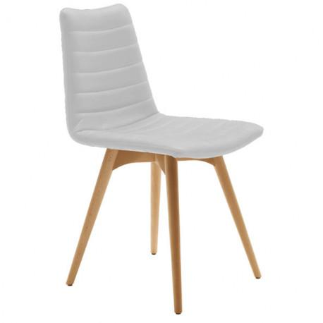 chaise design cover midj blanc pieds bois