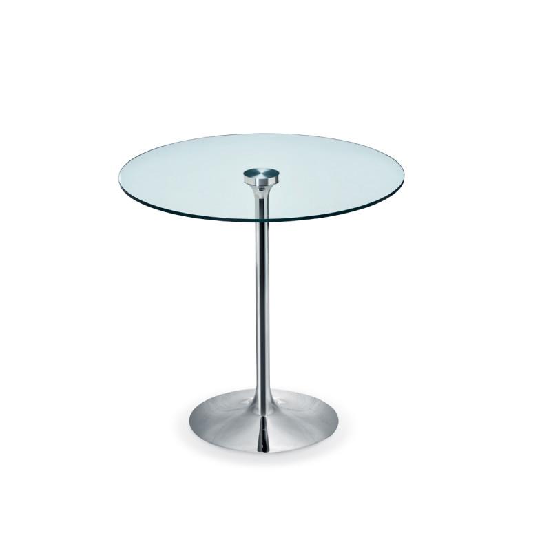 table ronde infinity midj plateau verre pied chrome diametre 80 cm