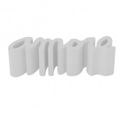 banc amore slide design blanc laque
