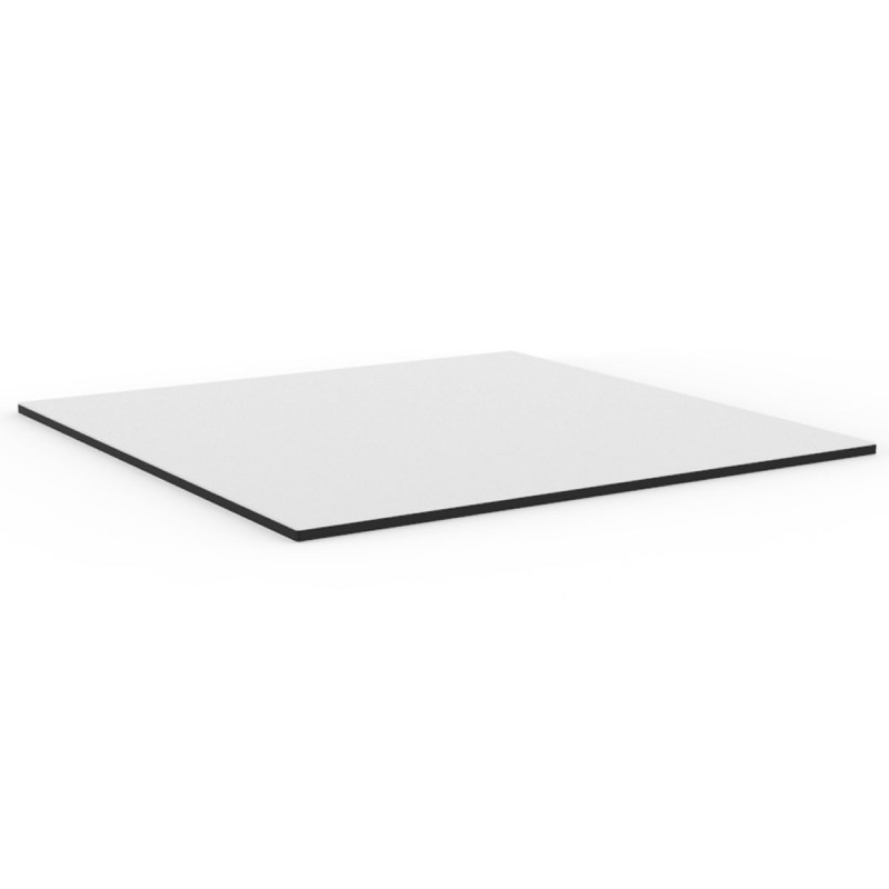 plateau de table delta vondom blanc bordure noir carre 50x50 cm