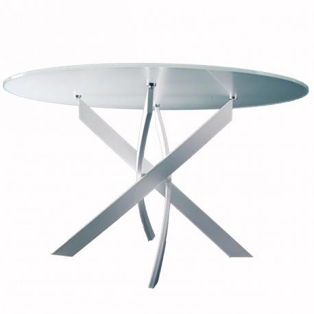 table elica ronde extrawhite brillant diametre 130 cm