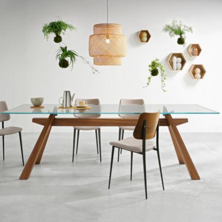 table zeus lg midj plateau verre pieds bois 200cm x106 cm