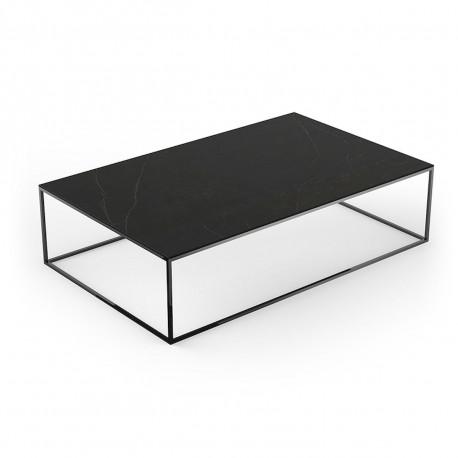 table basse contemporaine rectangulaire suave 160x100xh40cm vondom dekton kelya noir et pieds noirs