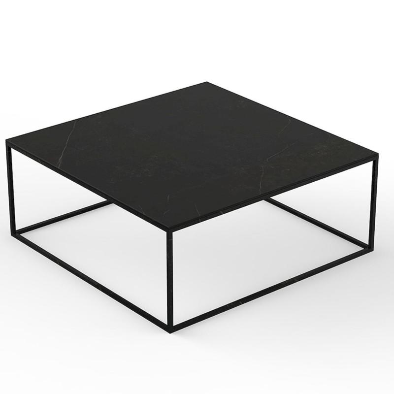 table basse carree contemporaine pixel 100x100xh25cm vondom dekton kelya noir et pieds noirs