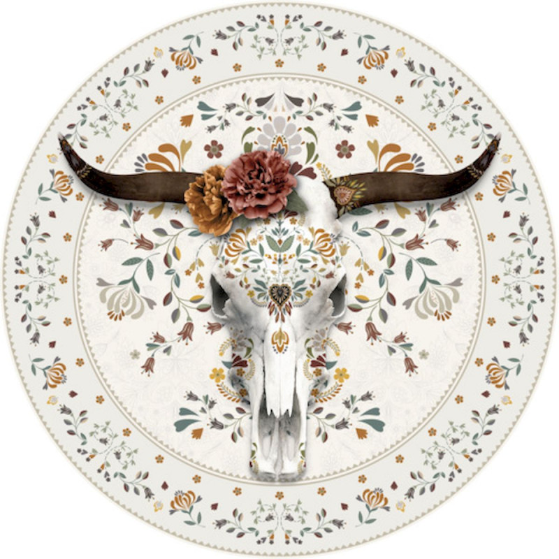 tapis vinyle rond buffle blanc diametre 145cm collection baba souk podevache
