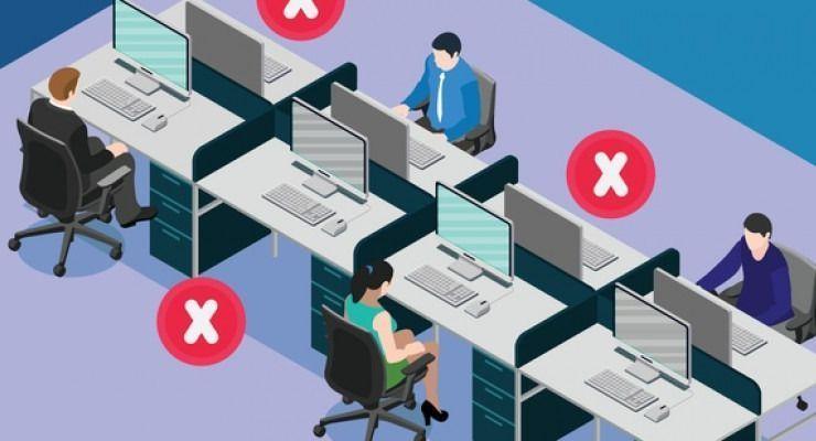 Medidas para mantener el distanciamiento social en las oficinas