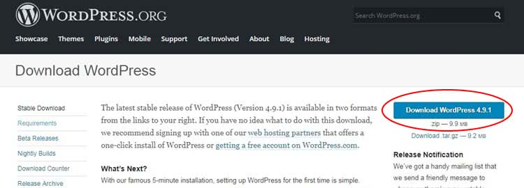 Step 1 Download WordPress installation files