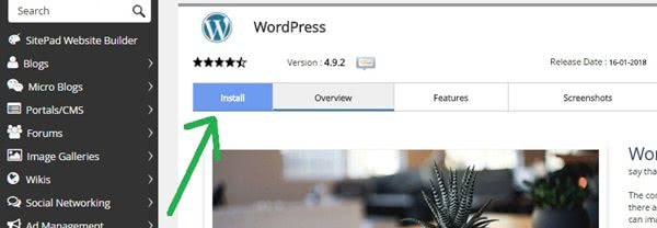 Softaculous WordPress Installation Window