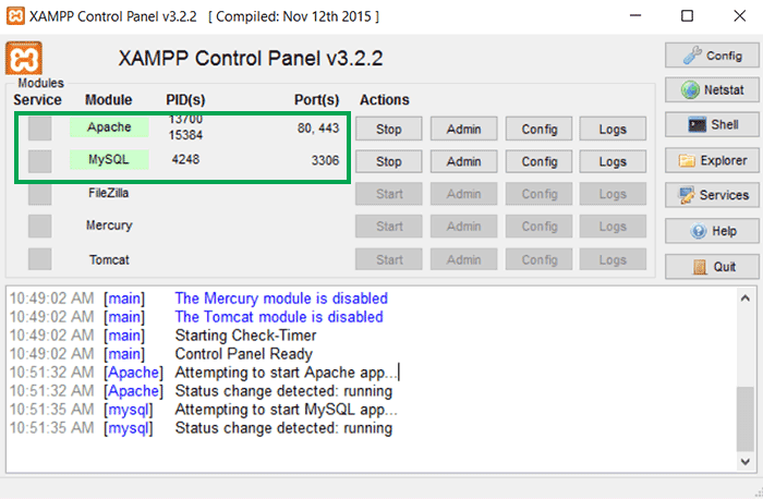 XAMPP Running Successfully
