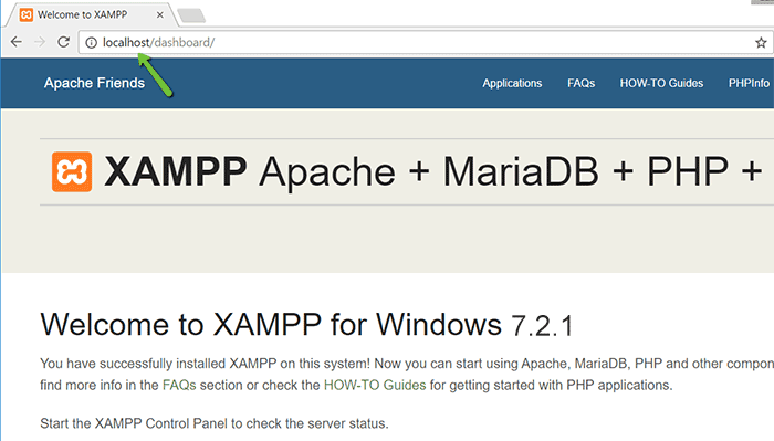 Opening XAMPP in browser
