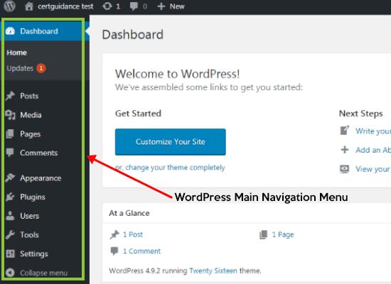 WordPress Dashboard Main Navigation Menu