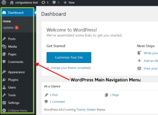 WordPress Dashboard Tutorial for Beginners - CertGuidance