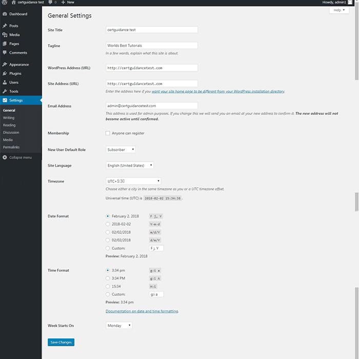 WordPress General Settings page