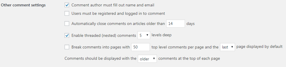 WP Discussion Other Comment Settings