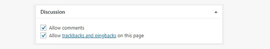 WordPress Post Discussion Meta box