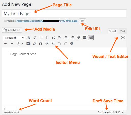 WordPress Page Editor Menu