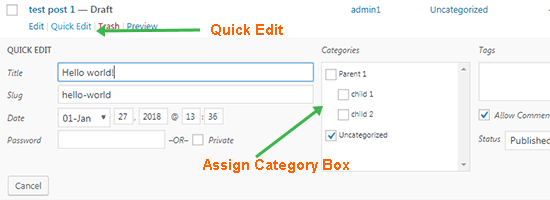 Assign Category Quick Edit
