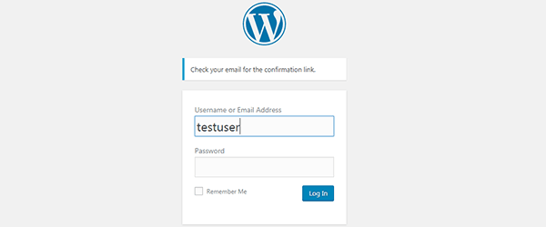 WordPress Sent Password Confirmation Link