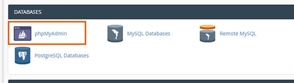 phpMyAdmin icon in cPanel
