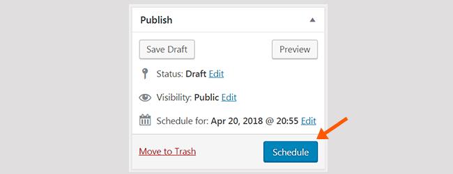 WordPress Post Schedule button