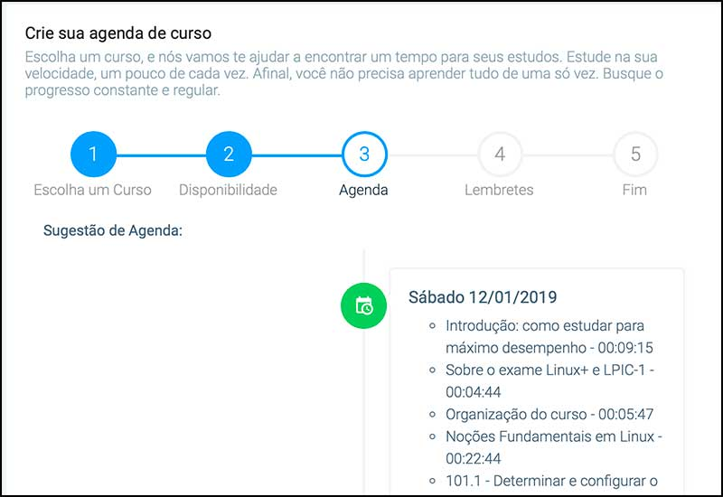 agenda Certificação Linux