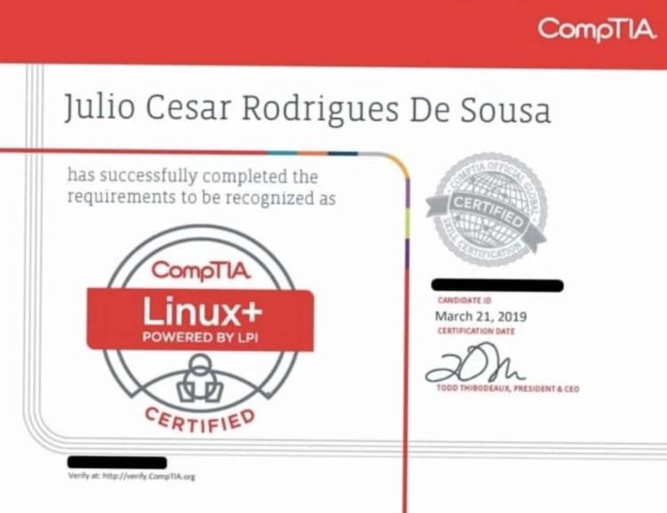 diploma_comptia_julio Por que obter uma certificação em linux?