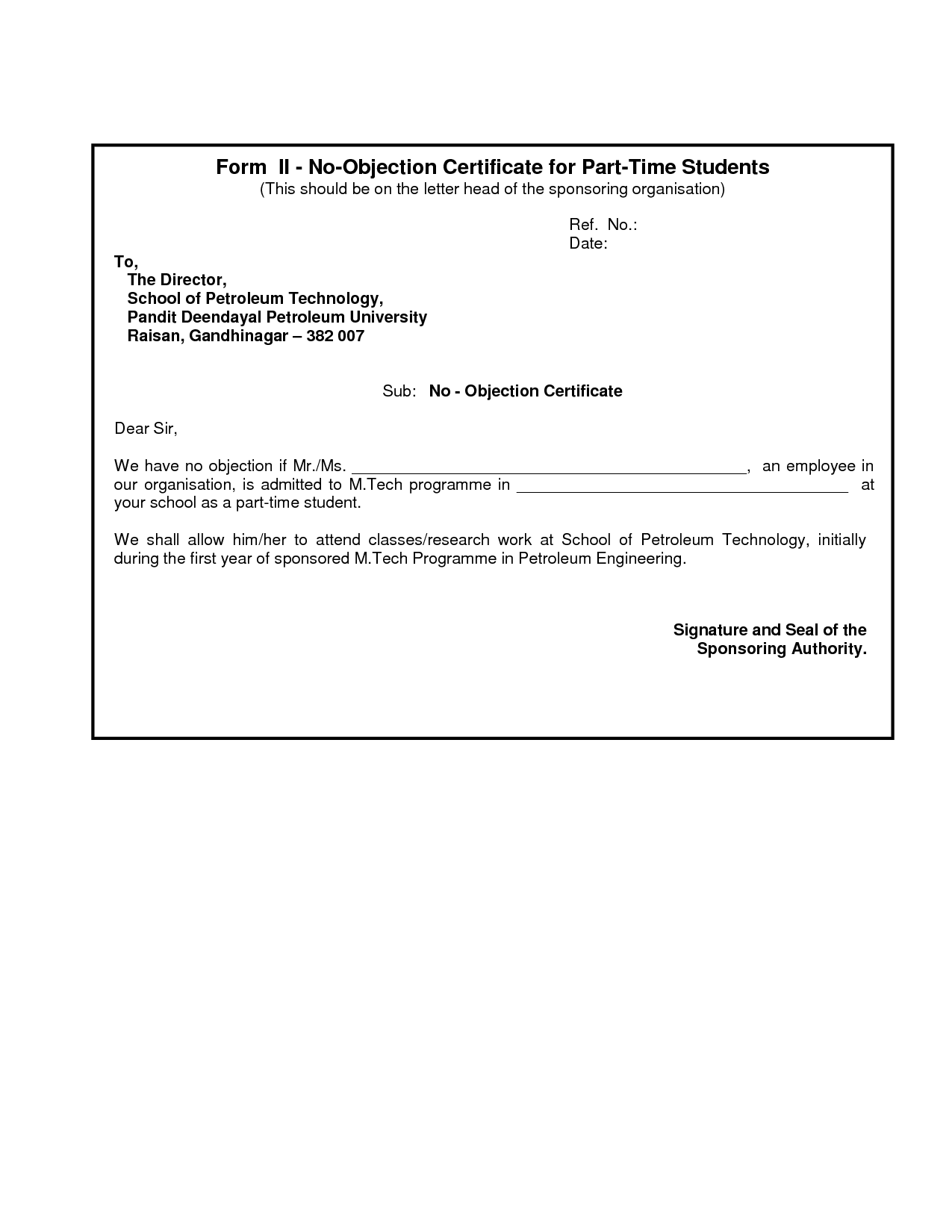 Doc7281032 Format of No Objection Certificate for Passport – Non Objection Certificate Format