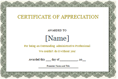 Certificate Of Appreciation Template Word Doc Free Download
