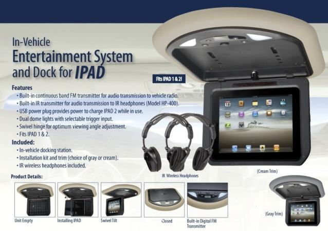 In Car iPad Overhead Docking Station for iPad1 and iPad2.